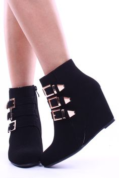 These booties are cute featuring a closed toe almond shaped front, 3 side buckles, inner zipper closure, wedge style. Measuring at 7 inches from bottom to top including a 3 inch heel. #Fashiongods #BeHot #shoes #Classy #heels #HighFashion #lollicouture