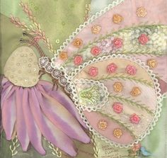 I ❤ crazy quilting . . . Julie E - Florida- Julie has created a beautiful block. I love the artistry represented in her butterfly. Beautiful SRE and embroidery.