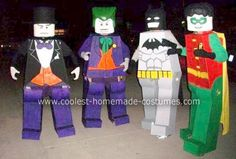 Homemade Lego Batman, Robin, Joker and Penguin Group Costume... This website is the Pinterest of costumes