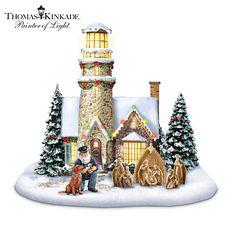 #ABradfordChristmas Thomas Kinkade Light Of Christmas Lighthouse Sculpture