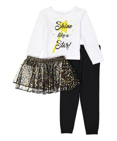 Take a look at this Black & White 'Like a Star' Pajama Set - Infant, Toddler & Girls today!