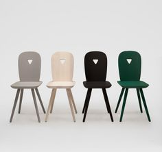 Chairs inspired by traditional crafts ad woodwork. We like the little heart cut-out.