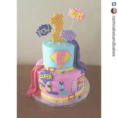 #Repost @rachcakesandbakes with @repostapp ・・・ A superhero cake for one super…