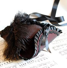 Mini Tricorn Hat in Burgundy and Black - Baroque- Gothic - Victorian-Ready to Ship. €80.00, via Etsy.