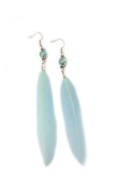 Earrings Feather Swarovski Blue
