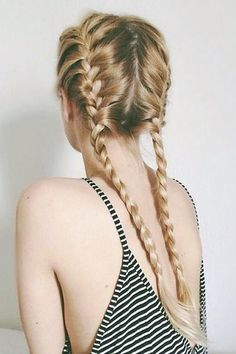 I wish I knew how to braid my hair like this. ~ Split your hair evenly down the back. For clean, polished braided pigtails, run some of Alterna's Bamboo Smooth Kendi Oil Dry Oil through your hair. Summer Hairstyles, Messy Hairstyles, Pretty Hairstyles, Ladies Hairstyles, Hairstyles Pictures, Feathered Hairstyles, Wedge Hairstyles, Updos Hairstyle, Teenage Hairstyles