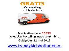 met kortingscode PORTO wordt je bestelling gratis verzonden bij www.trendykidsbathmen.nl