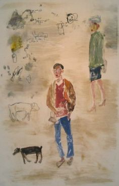 """MARK MULHERN,COMINGS AND GOINGS, MAN WALKING WITH DOGS, Monotype, 41 1/2 x 29 1/2"""""""