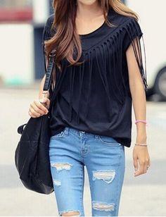Casual Scoop Neck Short Sleeve Fringe Embellished Women's T-Shirt
