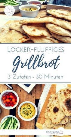 Fladenbrot als Beilage zum Grillen – das geht auch mit Hefe ganz spontan. Dieses… Flat bread as a side dish for grilling – this is also possible with yeast quite spontaneously. This recipe for vegan naan or pita bread is ready to grill or bake in a pan Greek Recipes, Raw Food Recipes, Vegan Naan, Greek Diet, Grilled Flatbread, Side Dishes, Food And Drink, Stuffed Peppers, Foods