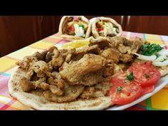 Χοιρινός γύρος στο τηγάνι!! - YouTube Greek Gyros, Greek Recipes, Fries, Bbq, Pork, Homemade, Meat, Chicken, Ethnic Recipes