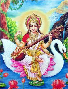 Goddess Saraswathi is the Hindu goddess of education, music, arts, knowledge and learning. Find a good collection of Goddess Saraswati images & wallpapers. Saraswati Murti, Saraswati Goddess, Lord Saraswati, Saraswati Vandana, Lord Shiva, Hindus, Saraswati Painting, Madhubani Painting, Indiana