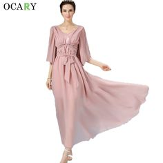 >> Click to Buy << Vintage Flare Sleeve Chiffon Dress With Sash Elegant Boho Maxi Dress Casual Women Summer Beach Dresses   Size Vestidos #Affiliate