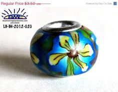 #Valentines #Sale #Euro Style Bead Blue Yellow by #polymerclaybeads @julielcleveland