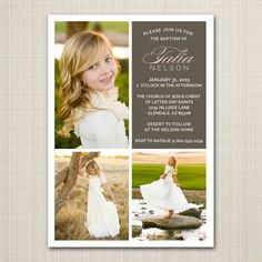lds baptism announcement / invitation by westwillow on Etsy https://www.etsy.com/listing/218442276/lds-baptism-announcement-invitation