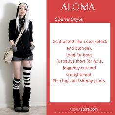 #aloma_dictionary  #Scene_style  تباين في لون الشعر (أشقر وأسود ) حيث نراه طويل عند الشباب وقصير عند الفتيات , ويتميز ببناطيل  ضيقة وحلق المعدني  #ألوما #فاشن #الإمارات #دبي #تسوق #أونلاين #أناقة   #fashion #aloma #dubai #onlinestore #shopnow #alomastore #elegant