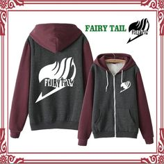 Anime Fairy Tail Hooded Thicken Jacket Sweatshirt Cosplay Hoodie