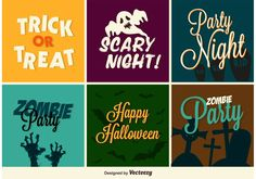 Set of Halloween typographic card and invitation designs for Autumn season.
