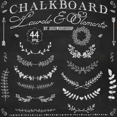 Chalkboard laurels clipart Chalkboard laurels set by DigiWorkshop, $5.00