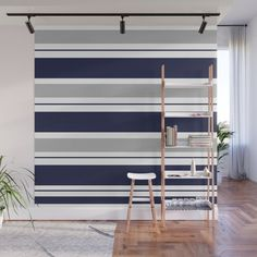 Blue Navy and Pink Stripes Wall Mural by Striped Walls Bedroom, Grey Striped Wallpaper, Striped Accent Walls, Accent Wall Bedroom, Blue Walls, Vertical Striped Walls, Stripped Wall, Shabby, Grey Stripes