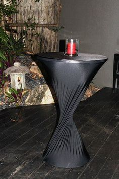 Cocktail Reception ideas- get stretching material for your tables and twist in middle for design and pop a simple candle on top for mood= cheap/easy DIY reception idea :)