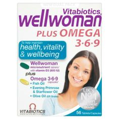 Wellwoman Plus Tablets 56 Capsules by Wellwoman. $11.85. The Advanced Wellwoman Plus Omega-3,6,9 Formula Contains All The Benefits Of Wellwoman Original Comprehensive Nutritional Supplement With The Added Benefits Of Omega- 3,6,9. The Omega Oils Come From Fish Oil, Starflower Oil, Evening Primrose Oil, Ep Grade Olive Oil And Vitamin E, Selected For Optimum Strength And Purity In A Handy Dual Pack.