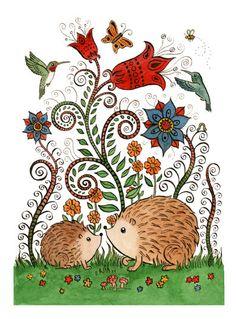 "Hedgehog Garden Art Print 11""x14"" by SepiaLepus on Etsy https://www.etsy.com/listing/182050730/hedgehog-garden-art-print-11x14"