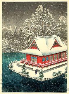 'Snow at Inokashira' by Kawase Hasui, 1928 (published by Watanabe Shozaburo)