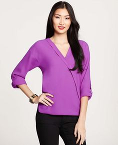 Crepe Rolled Sleeve Wrap Top