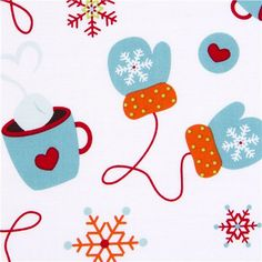white Riley Blake Christmas fabric cute mittens cute fabric with mittens, hot chocolate & snowflakes from the USA
