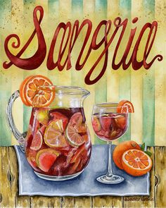 Sangria is a wine punch typical of Spain and Portugal. It normally consists of wine, chopped fruit, a sweetener, and a small amount of added brandy. In the case of fruits, they are chopped or sliced such as orange, lemon, lime, apple, peach, melon, berries, pineapple, grape, kiwi and mango. A sweetener such as honey, sugar, simple syrup, orange juice is added. Instead of brandy, other liquids such as Seltzer, Sprite or 7 Up may be added