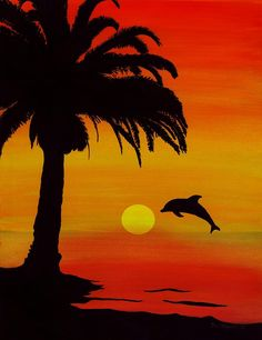 Dolphin Sunset by Barbara St Jean - Dolphin Sunset Painting ...