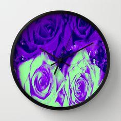 Glitter and Roses - Purple and Green Wall Clocks by Judy Palkimas