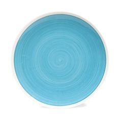 Assiette à dessert en faïence bleue D 21 cm CYCLADES   - Vendu par 6