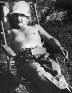 Albert Einstein relaxing in Palm Springs, 1932