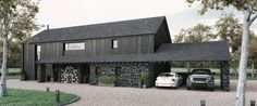 A barn style home, featuring natural stone and finished with charred larch cladding Residential Architecture, Modern Architecture, Larch Cladding, Modern Barn House, Long House, Rural House, Shed Homes, Cabana, Exterior Design