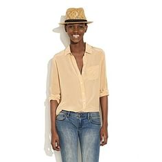 Women's SHIRTS & TOPS - blouses - Soft Silk Boyshirt - Madewell - StyleSays