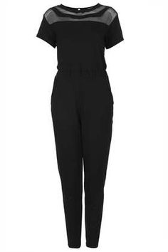 Double Mesh Panel Jumpsuit - Rompers and Jumpsuits - Clothing - Topshop USA Perrie Edwards Style, Style And Grace, My Style, All Black Everything, Hippie Style, Boho Hippie, Playsuits, Jumpsuits, Mesh Panel