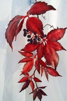 девичий виноград из фоамирана по мк Лилии Кренцлер / Прочие виды рукоделия / Флористика, топиарии