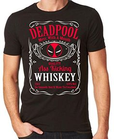 bd73e569 DEADPOOL WHISKY T-SHIRT - WHISKY MASH UP BLACK TOP Sizes S - 5XL (medium,  BLACK)