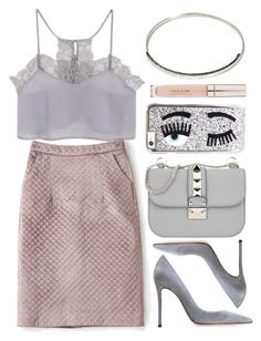 """""""Pastels"""" by genuine-people ❤ liked on Polyvore featuring Gianvito Rossi, Valentino, Stila, Chiara Ferragni, Pink, pastel and gray"""