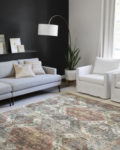 This rug from Loloi is the perfect addition to this rustic space. The Skye Collection offers beautiful and timeless pieces that can blend with any design style! Oriental Pattern, Orange Pattern, Rectangular Rugs, Home Rugs, Joss And Main, Interior Design Services, Interior Ideas, Power Loom, Blue Area Rugs
