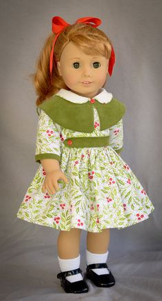 Cape Collar Christmas Dress for AG Dolls by AnnasGirls on Etsy