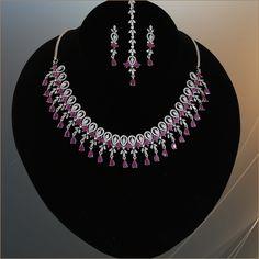American Diamond Jewellery, Diamond Jewelry, Gold Jewelry, Jewelry Art, Wedding Jewellery Designs, Wedding Jewelry, Jewelry Design, Pink Stone, Ruby Stone