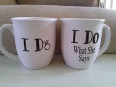 Personalized His & Hers Wedding Mug Set of 2 by TracyKatelyn, $13.95: