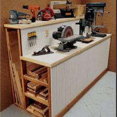 Tool shed / work bench storage for scrap wood and tools