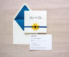 Sunflower and navy wedding invitation for summer, seaside or Tuscany wedding theme Yellow and blue wedding invitation Elegant sunflower Are you in love with strong and bold combinations like yellow and navy? I made this sunflower and n Square Wedding Invitations, Sunflower Wedding Invitations, Floral Invitation, Elegant Wedding Invitations, Sunflower Weddings, Tiffany Wedding, Custom Stationery, Pink Weddings, Summer Weddings