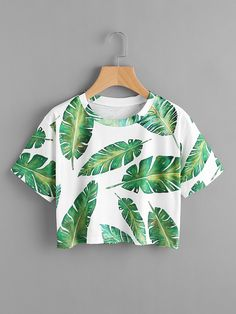 SheIn offers Banana Leaves Print Random Tee & more to fit your fashionable needs. SheIn offers Banana Leaves Print Random Tee & more to fit your fashionable needs. Cute Lazy Outfits, Teenage Girl Outfits, Crop Top Outfits, Girls Fashion Clothes, Teen Fashion Outfits, Cute Fashion, Pretty Outfits, Stylish Outfits, Tween Fashion