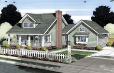 Elevation of Cape Cod   Country   House Plan 66533 Master downstairs...attached garage!