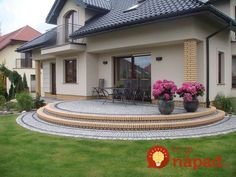 House-apartment-family-of-the arrangement of the garden House Outside Design, House Front Design, Small House Design, Dream Home Design, Modern House Design, Beautiful House Plans, Beautiful Homes, Modern Bungalow House, Home Building Design